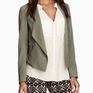 H&M Olive Open Blazer with Zippers